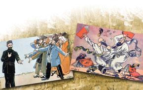 Cartoons by Azim Azimzade to accompany Sabir´s poems