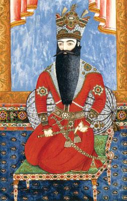 Mirza Qadim Irevani (1825-1875). Azerbaijan. Portrait of Fatali Shah. Paper, watercolour. 33×22.3