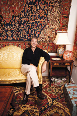 Richard surrounded by his beloved carpets