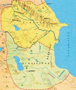 Azerbaijan, 4th century BCE – 3rd century CE. Source: Map of Azerbaijani history. Baku 2007, page 14