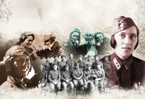 A collage of photographs of Leyla Mammadbeyova