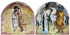 Mikayil Abdullayev, mosaics based on Leyli and Majnun and Iskendername, Nizami metro station, Baku