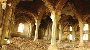Mosque interior following Armenian occupation, Shusha district