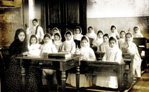 Teacher Shafiga Efendizadeh teaching at the Aleksandrinski Russian-Muslim school for girls