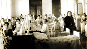 R.Hajibababeyova in the student hostel of the girls` school