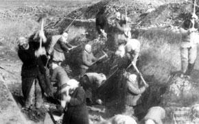 Digging defence lines near Baku city. 1942
