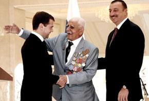 Dmitri Medvedev, President of Russia, awarding 2nd and 3rd rank rewards to Agadadash Semedov, veteran of the Great Patriotic War. 2008