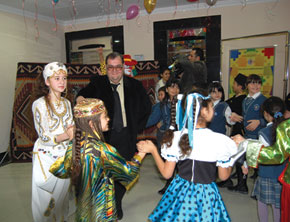 At the Children's Cinema, established by the State Film Foundation. Foundation Director Jamil Guliyev surrounded by children