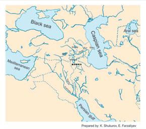 Ancient Azerbaijan, III millennium B.C – early VII century - showing modern borders