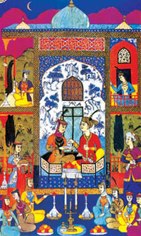 Miniature showing Khosrov and Shirin listening to legends told by girls, ´Khamsa´ (Bukhara, 1648)