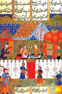 Miniature showing a music gathering for Khosrov and Shirin, 'Khamsa' (Bukhara, 1648)