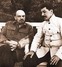 Lenin and Stalin in Gorky. 1922