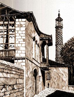 View from Shusha, city in Azerbaijan. Artist Elturan Avalov