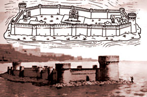 Bayil castle. Graphic illustration. Jafar Qiyasi