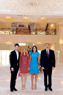 President Ilham Aliyev and First Lady Mehriban Aliyeva receive Eldar and Nigar after their Eurovision triumph