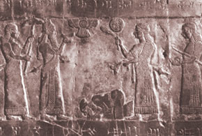 Assyrian king receiving tribute from Israel. Relief from the Black Obelisk of Nimrud. 825 B.C.E. British Museum