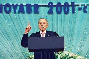 Heydar Aliyev addressing the 1st Congress of World Azerbaijanis