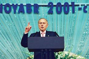 Heydar Aliyev addressing the 1st Congress of World Azerbaijanis