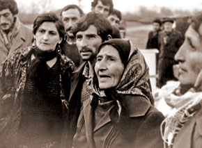 Azerbaijani refugees from the Gafan region of Armenia. 1988