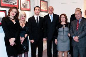 (from left) Amina Melikova, Director, Expo Org; Azada Huseynova, Azerbaijani Ministry of Culture and Tourism; Tale Heydarov, Chairman, TEAS; H.E. Ambassador Gurbanov; Naida Abbasova, Curator, Expo Org; and Professor Mir-Yusif Mir-Babayev, Azerbaijan Technical University