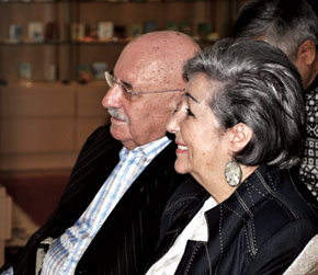 Nobert Yevdayev with his wife Nelly khanim at the Museum of Miniature Books. Baku, 2010