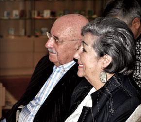 Nobert Yevdayev with his wife Nelly khanim at the Museum of Miniature Books. Baku, 2010