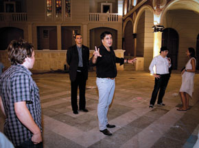 Steven Babbitt stares at Misha Saakashvili at 'random' Batumi meeting while bodyguard looks on, Georgia