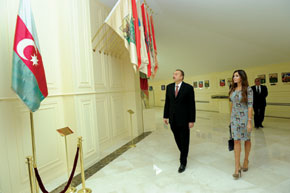 The President of the Republic of Azerbaijan, Ilham Aliyev, and first lady Mehriban Aliyeva at the newly established State Flag Square Museum