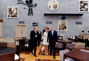 President Ilham Aliyev and First Lady Mehriban Aliyeva open the film theatre, 24 November 2011. With them is Minister of Culture and Tourism Abulfaz Garayev