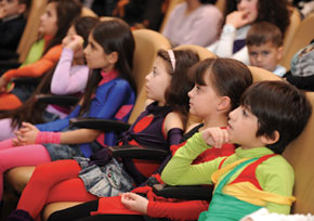 A young audience is captivated ….