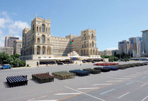 Military Forces on parade before Government House, Baku