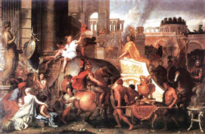Alexander the Great enters Babylon. About 1664