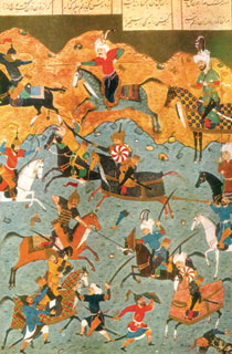 Battle between Alexander the Great and Persian King Darius III. Miniature