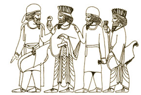 Median (in hats) and Persian (in tiaras) elite. Persepolis
