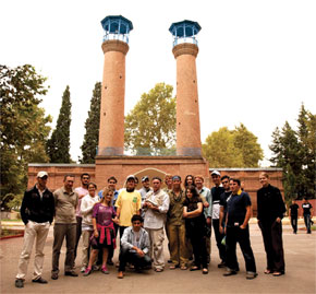 NSRS team with gasbomb in front of Shah Abbas Mosque, Ganja