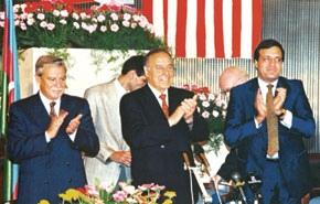 """From the signing ceremony of the """"Contract of the Century"""" at """"Gulustan"""" Palace, 24 September 1994"""