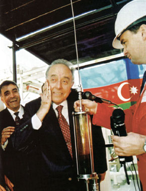 """Ceremony celebrating first oil production following the """"Contract of the Century"""", 12 November 1997"""