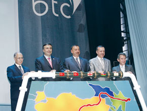 Official inauguration of the BTC pipeline. From the left: Ahmet Necdat Sezar (President of Turkey), Mikhail Saakashvili (President of Georgia), Ilham Aliyev (President of Azerbaijan), Recab Tayip Erdogan (Prime Minster of Turkey), John Browne (BP Group CEO)