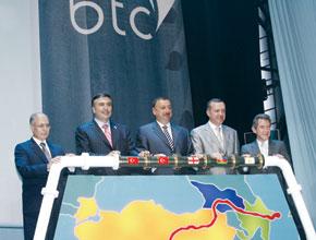 Official inauguration of the BTC pipeline. From the left: Ahmet Necdat Sezar (President of Turkey), Mikhail Saakashvili (President of Georgia), Ilham Aliyev (President of Azerbaijan), Recab Tayip Erdogan (Prime Minster of Turkey), John Browne (BP Group CEO)