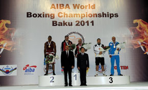 The awards ceremony. President Ilham Aliyev of the Azerbaijan Republic and Ching-Kuo Wu, President of AIBA with the winners