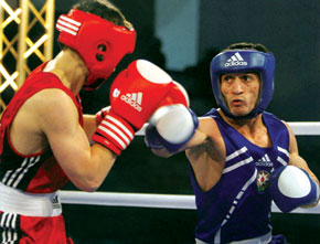 Shahin Imranov, medal winner at the European Championships and Athens Olympic Games, in action