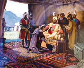 Shamakha ruler Abdulla khan receiving English voyager Anthony Jenkinson. artist, O. Sadiqzadeh. The Azerbaijan National History Museum