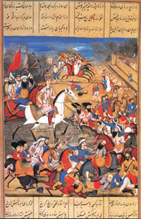 Agha Mahammed Shah's capture and the sack of Kirman. Shahinshahama. Shaba. 1810 Opaque watercolour on paper. Copies of this manuscript were sent by Fatali Shah to English, Russian and Austrian rulers