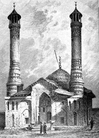 Govghar Agha's mosque. XIX Century. Shusha, Karabagh Khanate, Drawing by Vereschagin