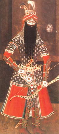 Fatali Shah in Armour. Mir Ali. Tehran, 1814-1815, Oil on canvas