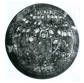 Unique dish, 50 cm in diameter, Atabey with a courtier. Early 13th century. Karabakh (Arran), Azerbaijan. The Hermitage, St Petersburg