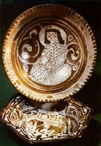 Coloured ceramic dish. Orengala (Beylagan). 12th-13th centuries. Azerbaijani Atabeyler state. The Hermitage, St Petersburg