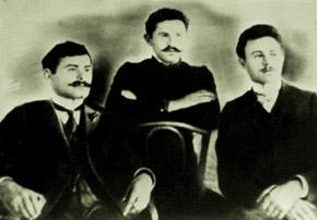 Hajibeyov brothers. From the left: Zulfugar bey, Jeyhun bey, Uzeyir bey (1918), Hajibeyov House Museum
