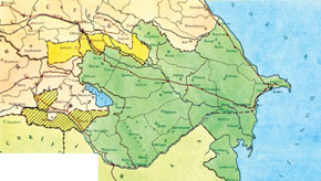 The map of the ADR issued in Russian in 1920 by the Ministry of Foreign Affairs of the ADR