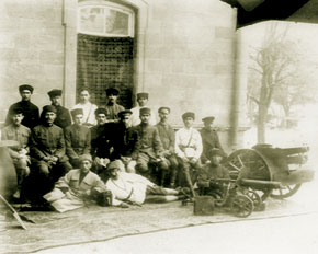 Azerbaijani army officers and members of the public. Lieutenant - General Ali Aga Shikhliski third from the left